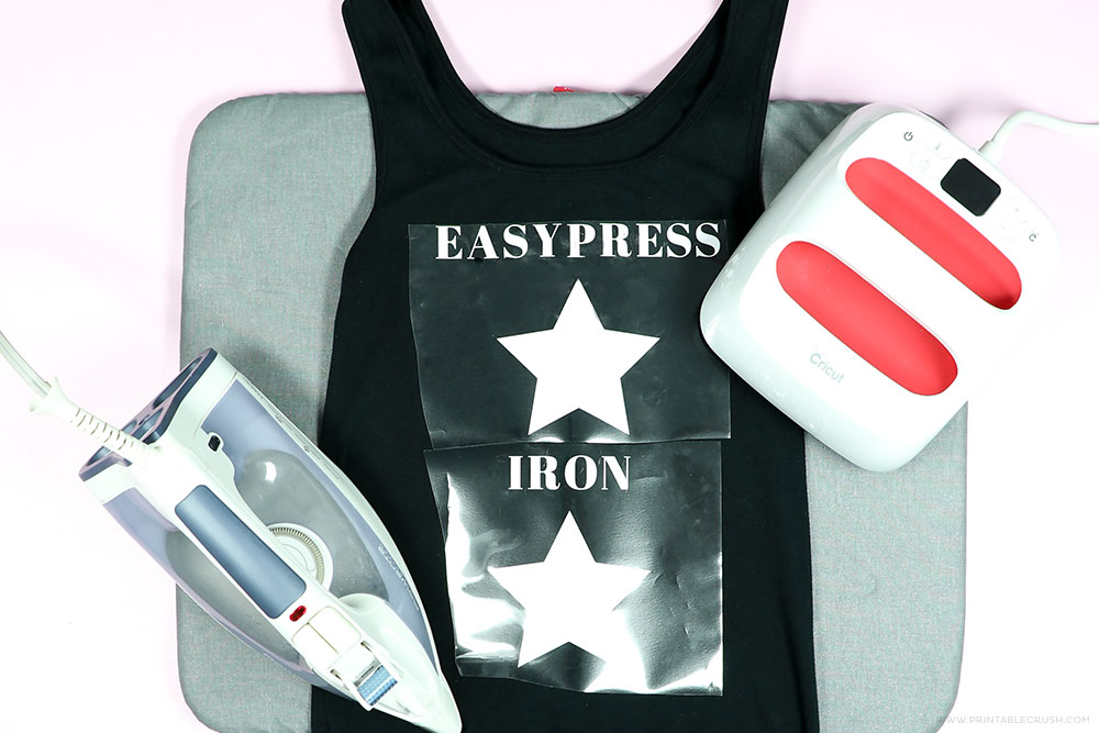 Iron-on with an old t-shirt to test out what works best.