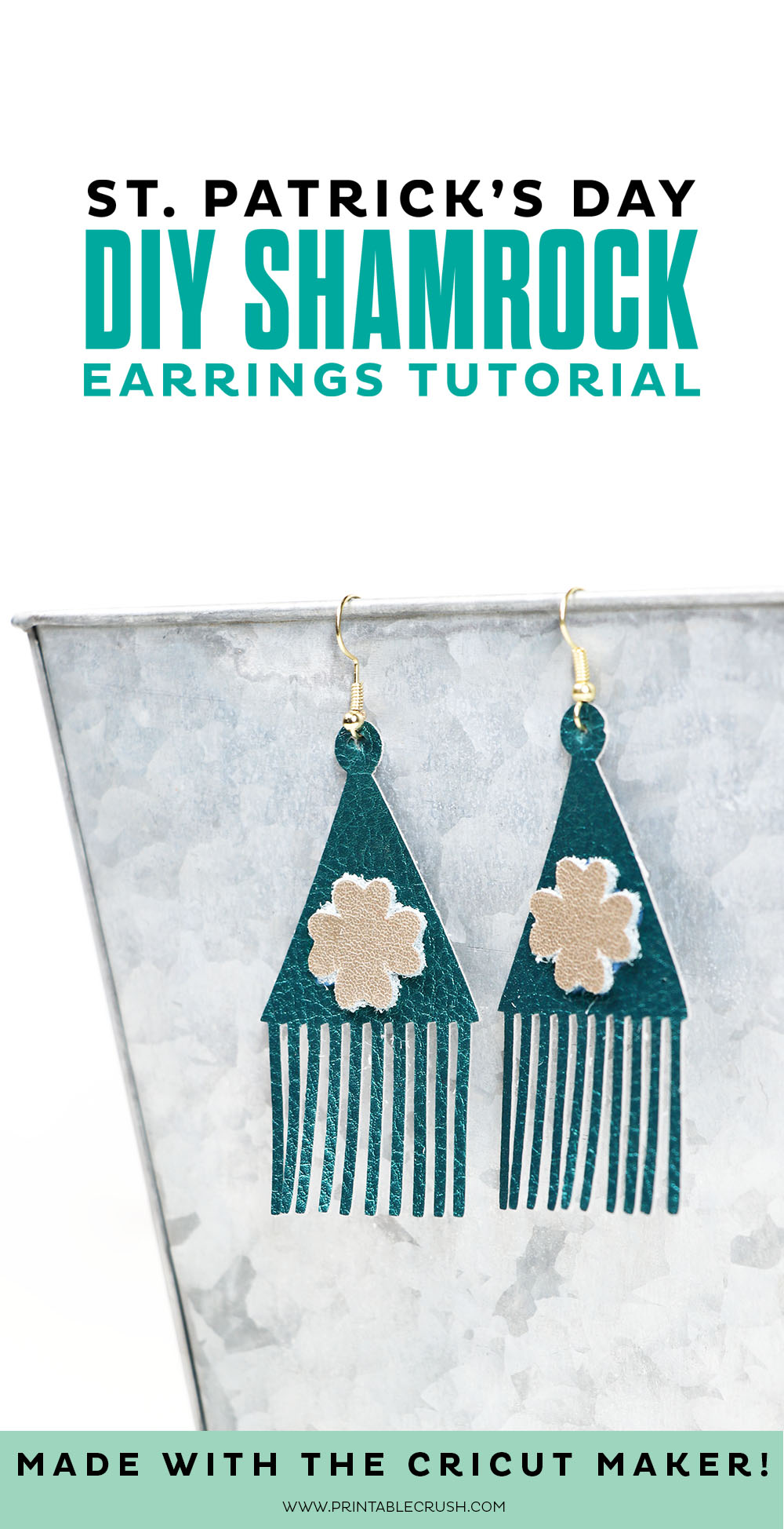 Don't you love these pretty St. Patrick's Day Shamrock Earrings made with the Cricut Maker? Check out this simple tutorial!