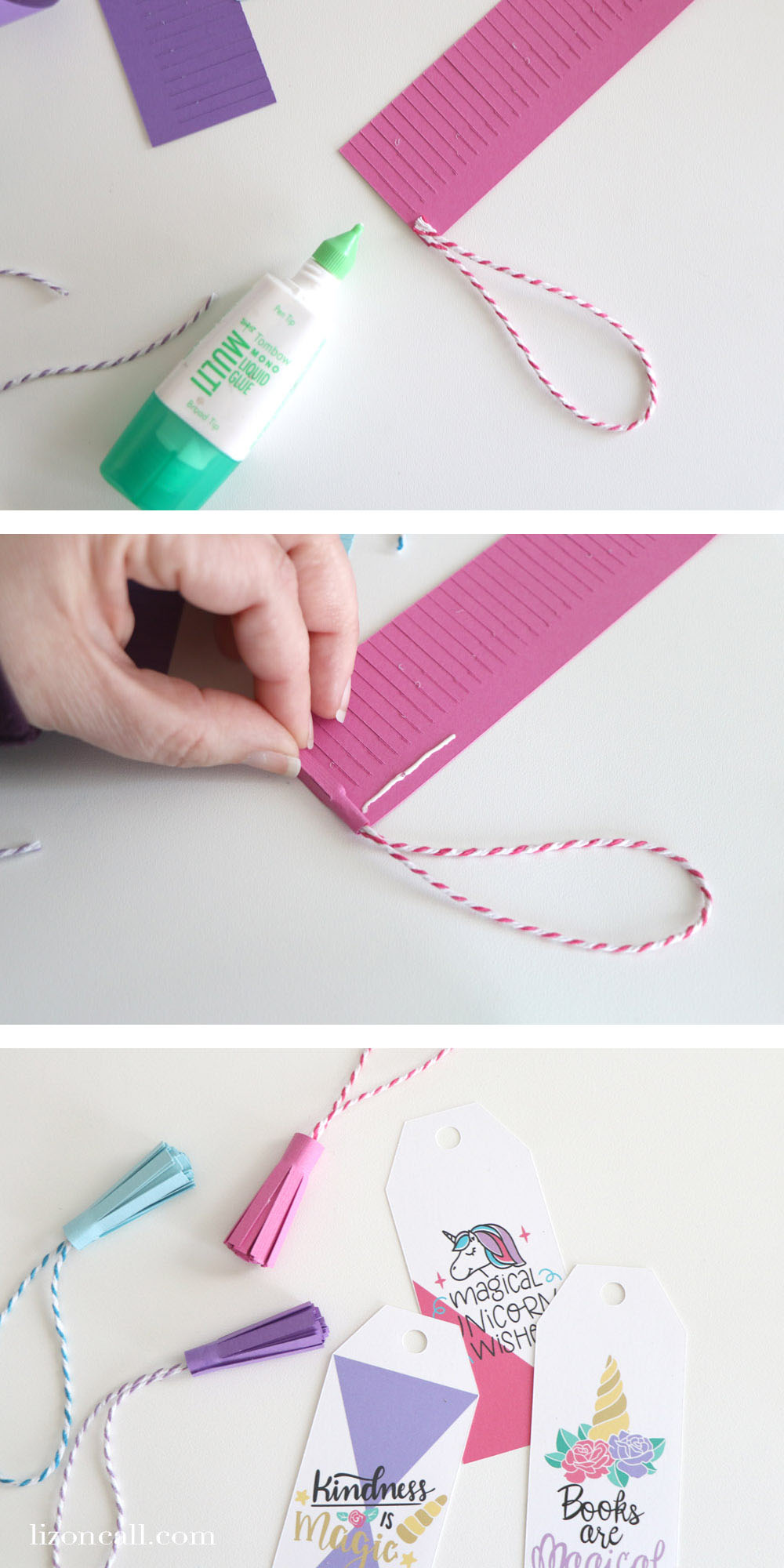 Learn how to make these Print and Cut Unicorn Tassel Bookmarks with the Cricut Machine!
