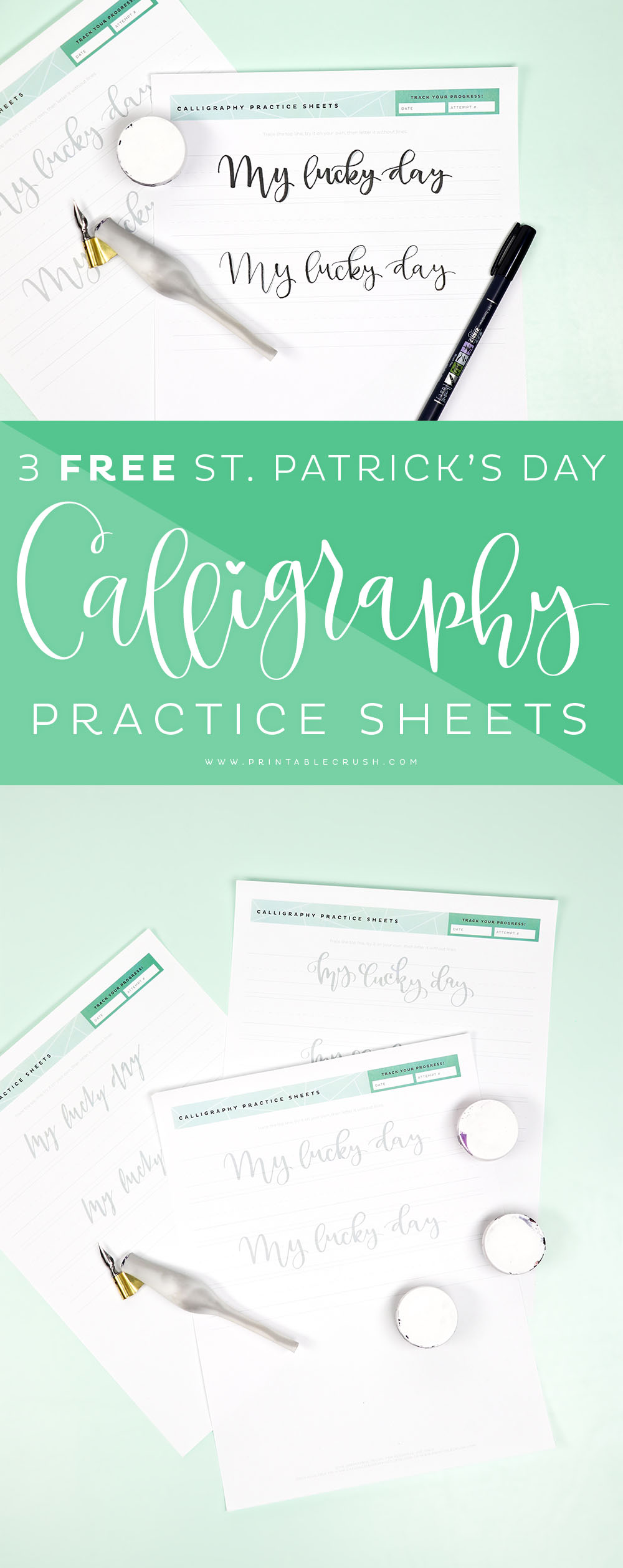 Practice your calligraphy with these 3 FREE St. Patrick's Day Calligraphy Practice Sheets! #casualcalligraphy #calligraphy #moderncalligraphy #calligraphypen #tombowpro #stpatricksday