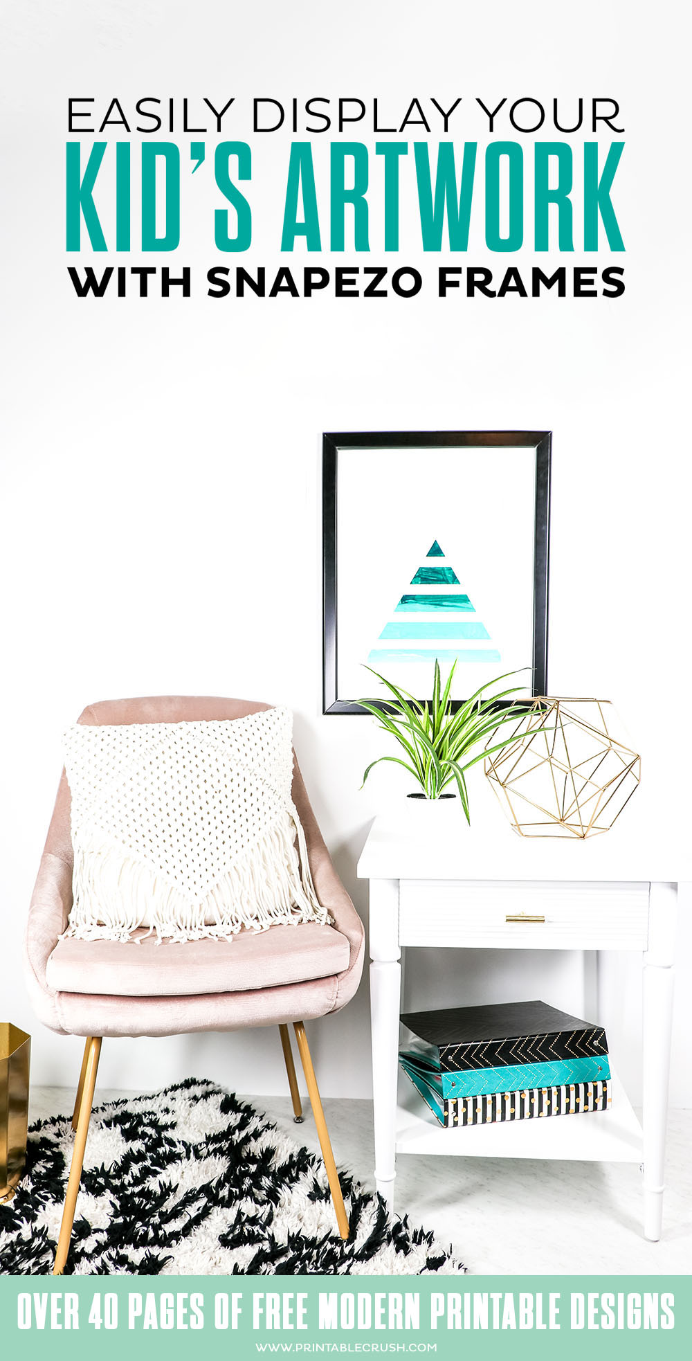 Easily display your kid's artwork with Snapezo frames - frames are nailed to the wall, open the sides of the frames, then change out images - you can do it daily if you want to!
