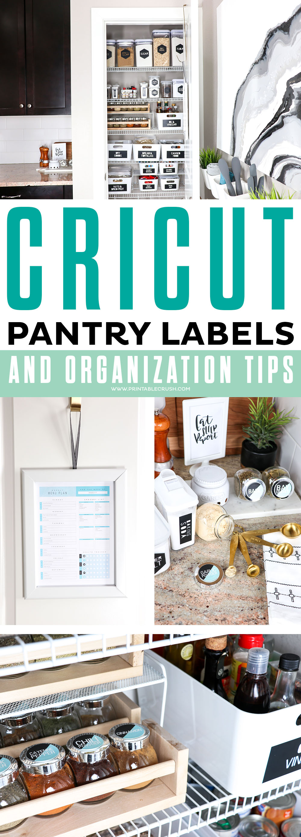 These Modern Pantry Labels are ready to make with your Cricut Machine- plus I have some great tips for an organized pantry!