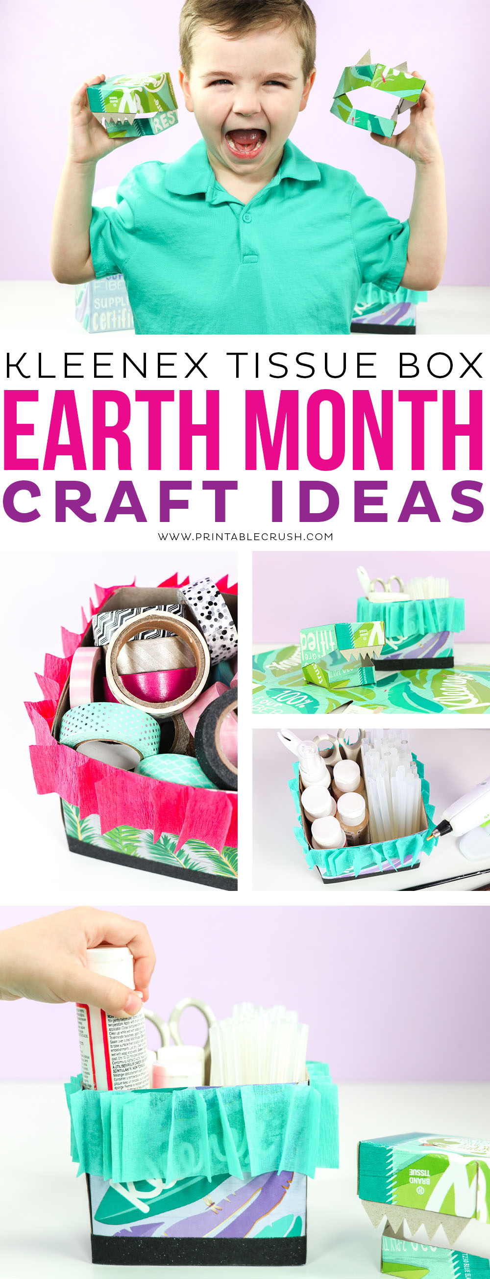 Create these Kleenex® Tissue Box Dinosaur Masks and Craft Supply boxes for fun Earth Month Crafts!