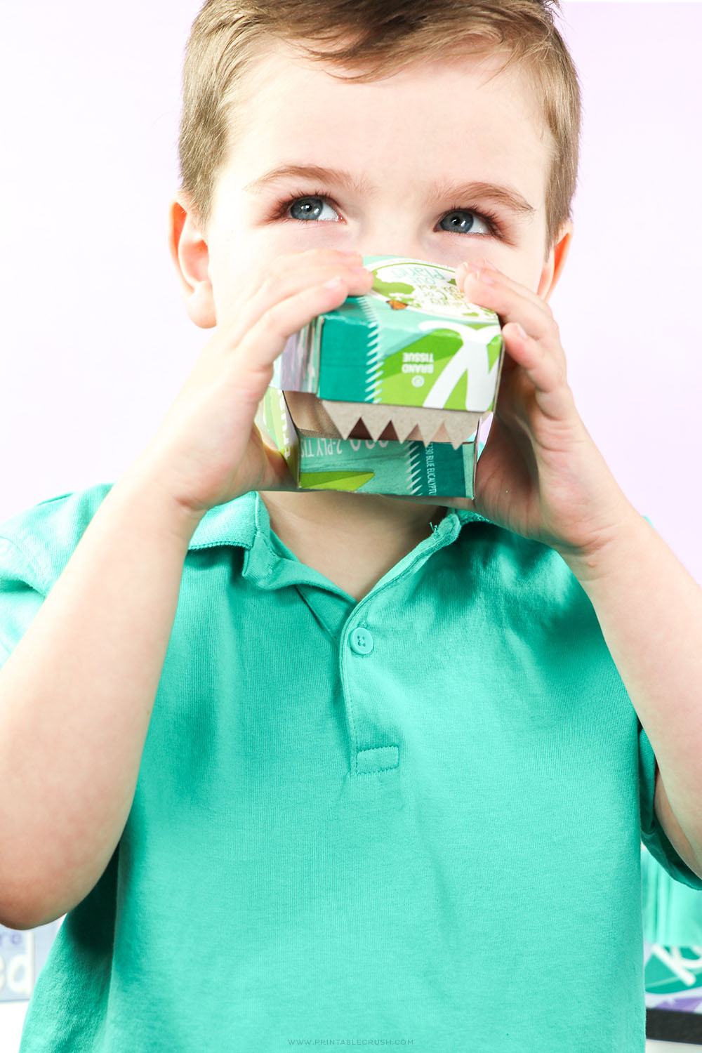 These Dinosaur Masks are made from empty Kleenex® Tissue Boxes and are the perfect Earth Day Craft for kids!