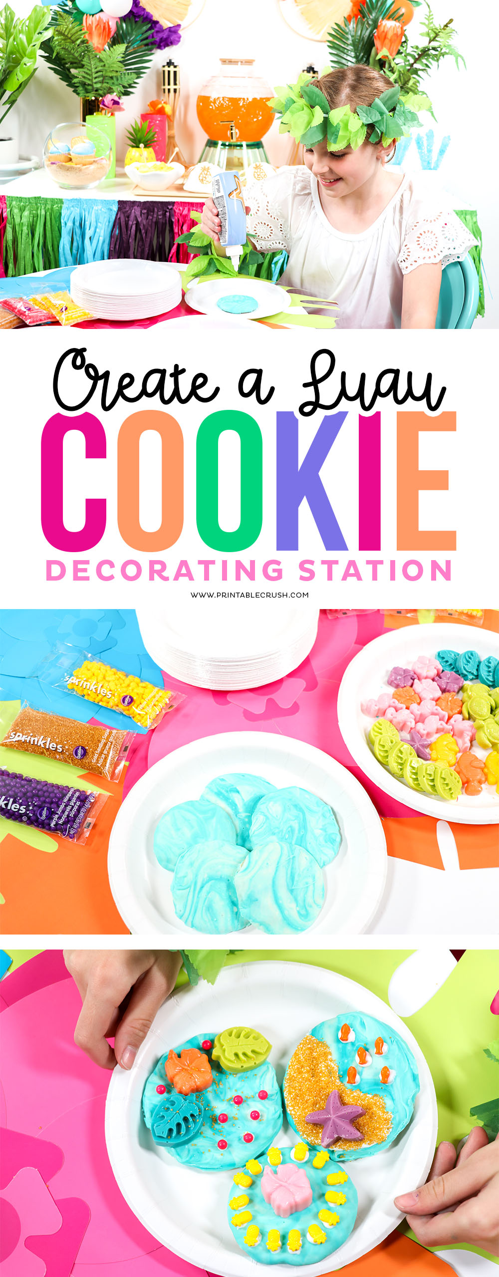 No cookie skills needed for this Luau Cookie Decorating Station! This is a super fun and easy activity for your summer luau party. #luauparty #kidpartyideas #luaupartyideas #hawaiianluau #cookiedecocorating #kidactivities #easypartyideas via @printablecrush