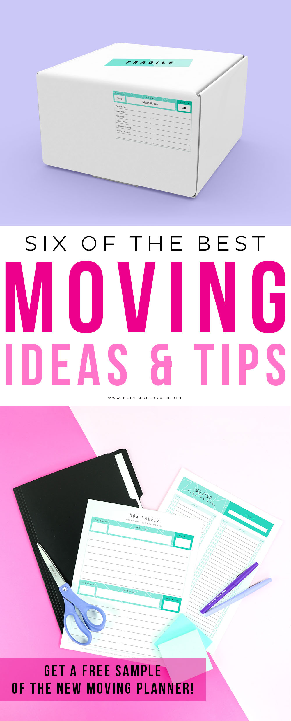 Six of the BEST Moving Ideas and Tips - includes a FREE sample of my Moving Planner Printable Set!