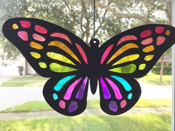 Cricut Butterfly Sun Catchers DIY Kids Craft - Creatively Beth