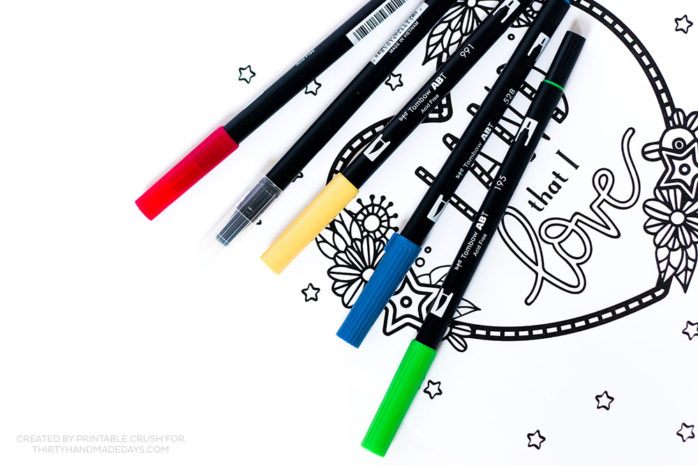 Love using Tombow Dual Brush Pens for coloring pages!