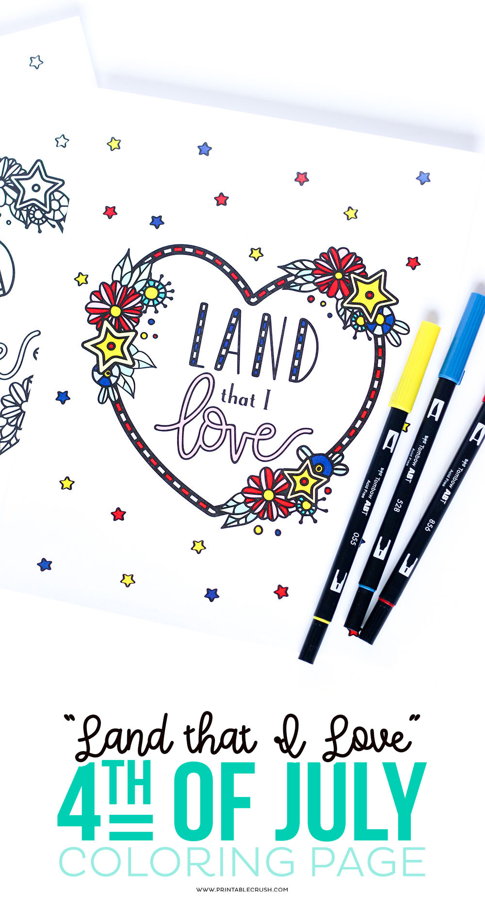 Download this free Land That I Love Fourth of July Coloring Page for a fun summer activity! Kids and adults will love this hand lettered and hand drawn design!