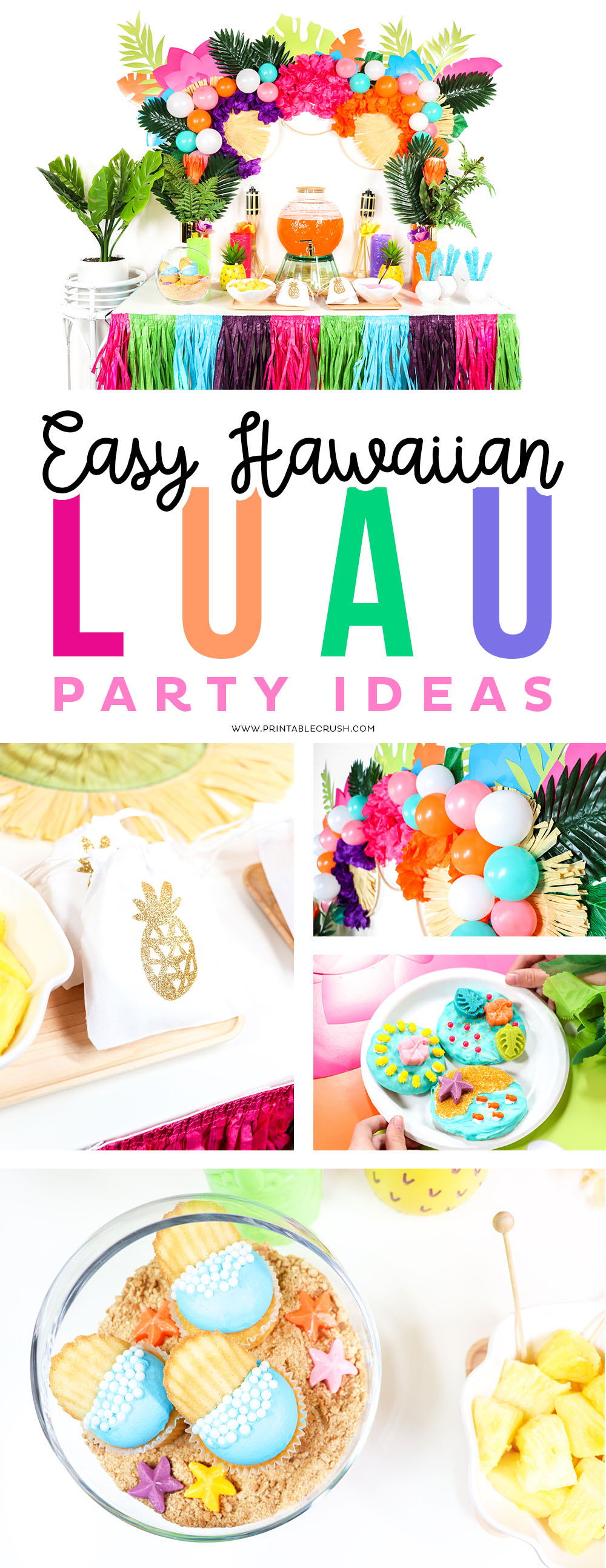 Throw a Luau Party in ONE DAY wit these Easy Hawaiian Luau Party Ideas! Learn ways to save time with luau decor and EASY food ideas for your summer party!