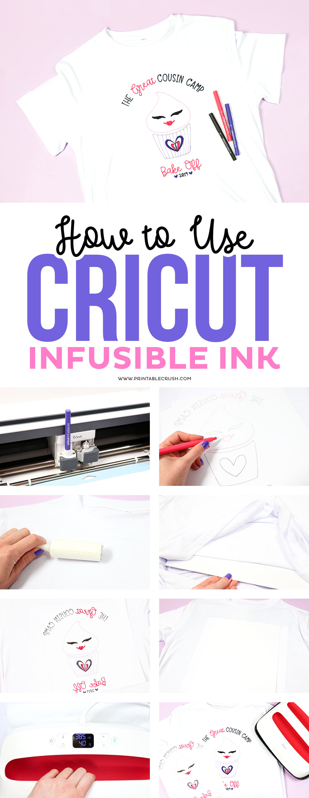 Learn how to use Cricut Infusible Ink Pens to create Cousin Camp T-shirts!