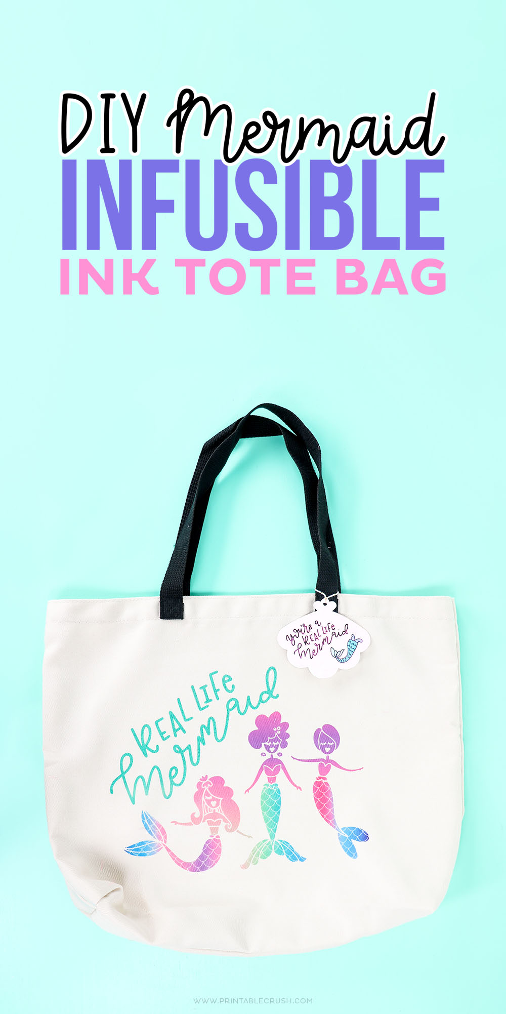 DIY Infusible Ink Tote Bag with Mermaid Design