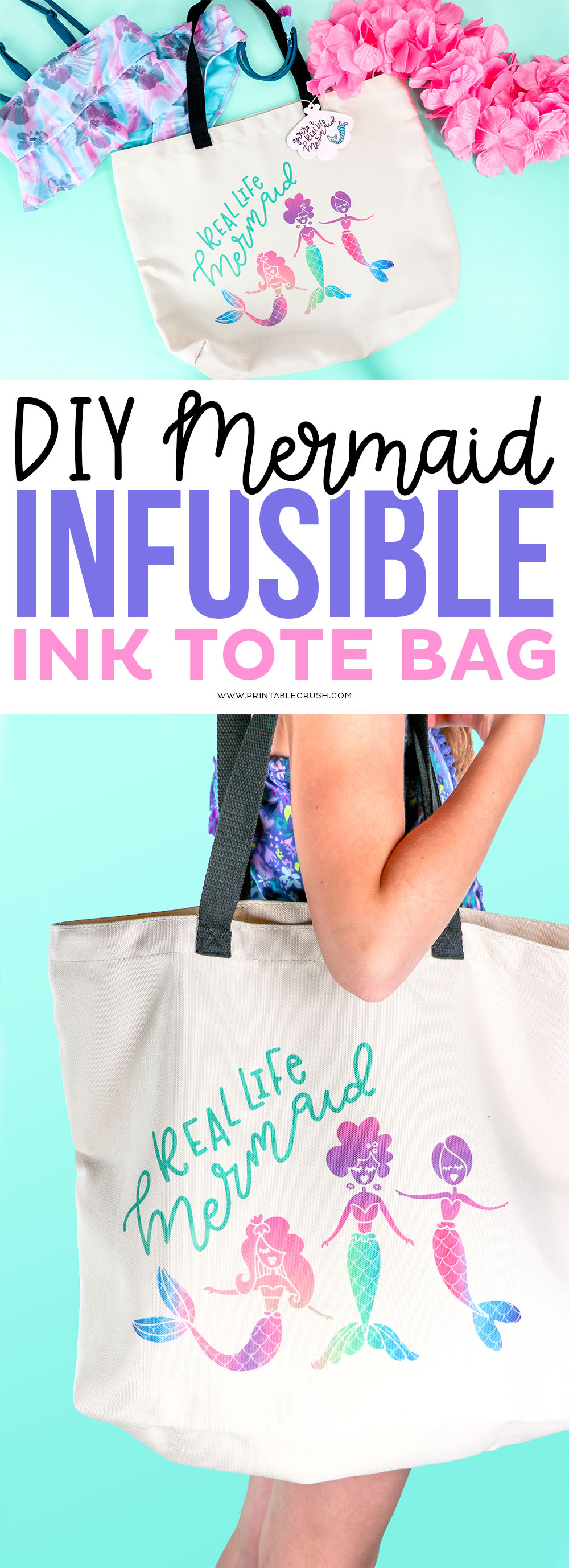 This DIY Mermaid Infusible Ink Tote is perfect to carry to the beach or pool!