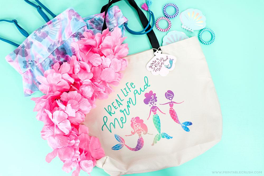 Use this tote as a gift bag and fill it with Mermaid gift ideas.