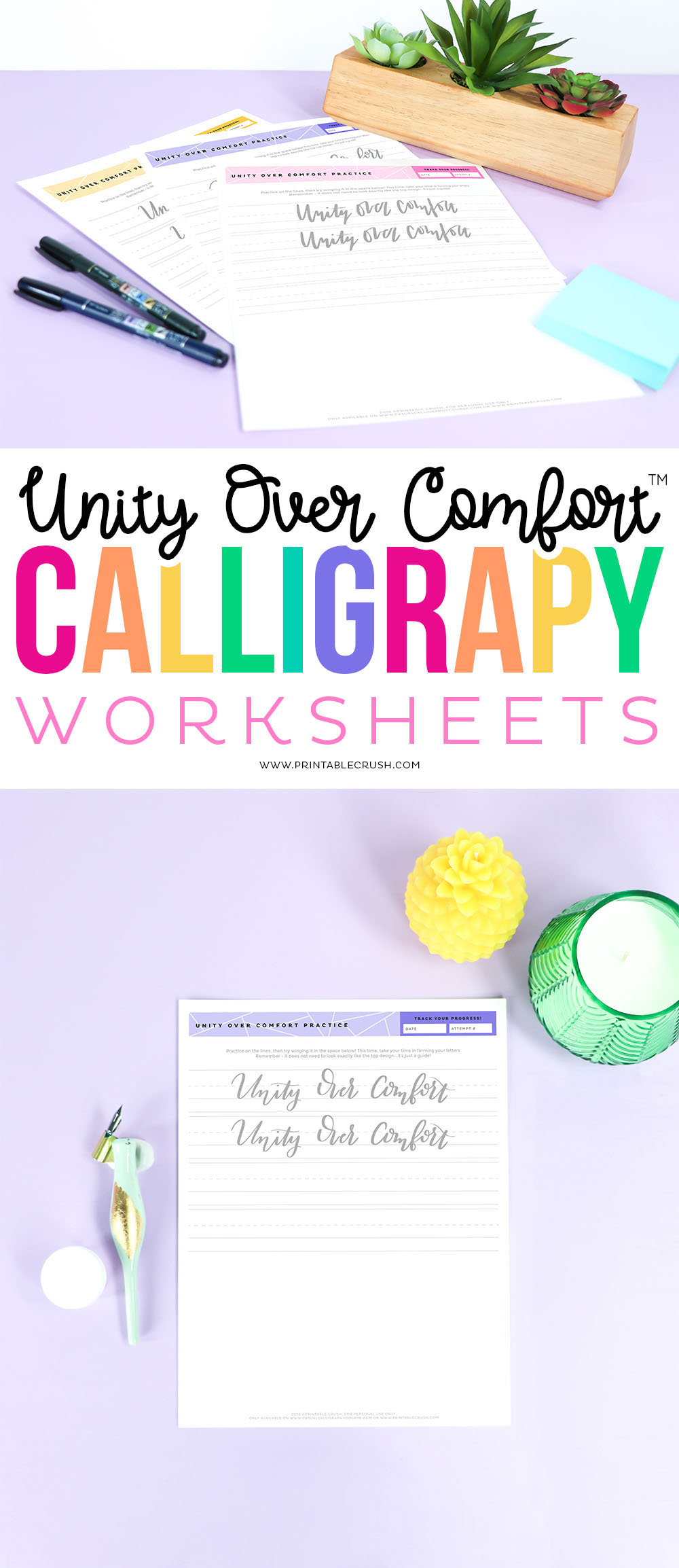 Download these 4 FREE Unity Over Comfort Calligraphy Worksheets, plus I'm giving 3 tips on how to encourage racial UNITY in your community!