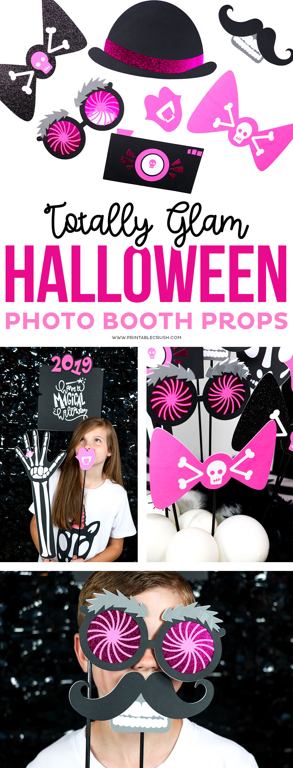 Learn to make these Glam Halloween Photo Booth Props! From skeleton unicorns to vampire lips and skeletons with mustaches...you'll create a Halloween to remember! #halloweenphotoprops #halloweenphotobooth #halloweenideas #halloweencrafts #cricutcrafts #cricuthalloween #cricuthalloweenideas #papercrafts #halloweenpapercrafts #photobooth via @printablecrush