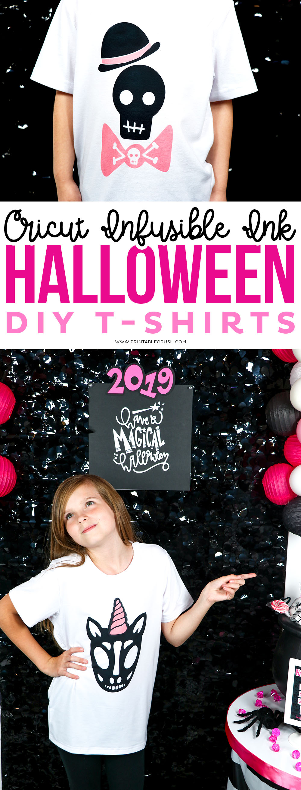 Use Cricut Infusible Ink to create these DIY Halloween T-shirts! Designs from the GLAM Halloween SVG File collection make these fun and unique. #cricutinfusibleink #cricuteasypress2 #halloweentshirt #halloweencraft #halloweensvgfiles via @printablecrush