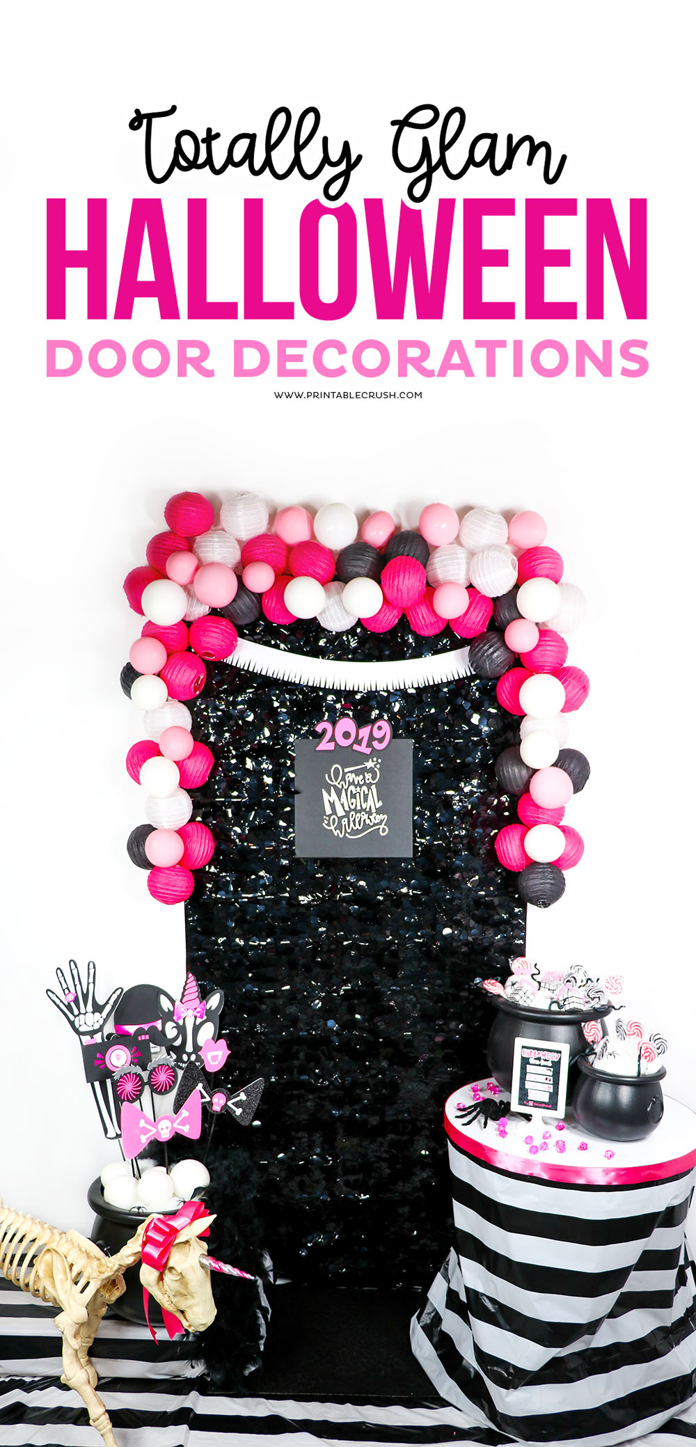 Glam pink and black Halloween Door Decorations