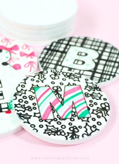 Cute Custom Coasters made with the Cricut EasyPress 2