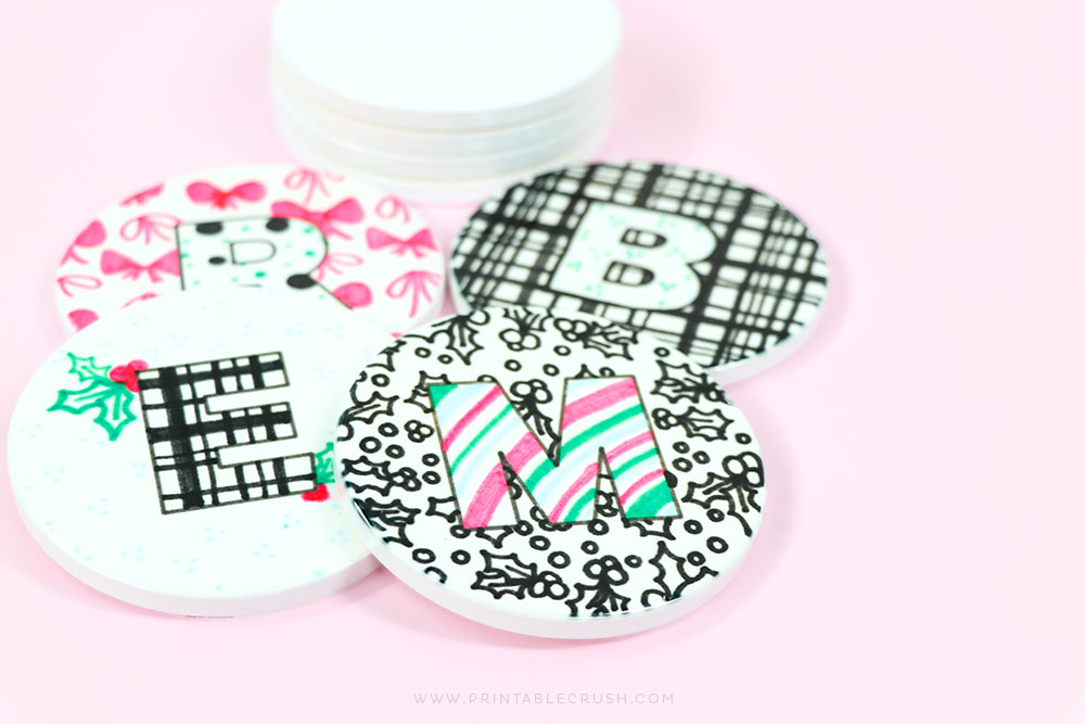 Cute Custom Coasters made with the Cricut EasyPress 2 - Custom Holiday Gift Idea