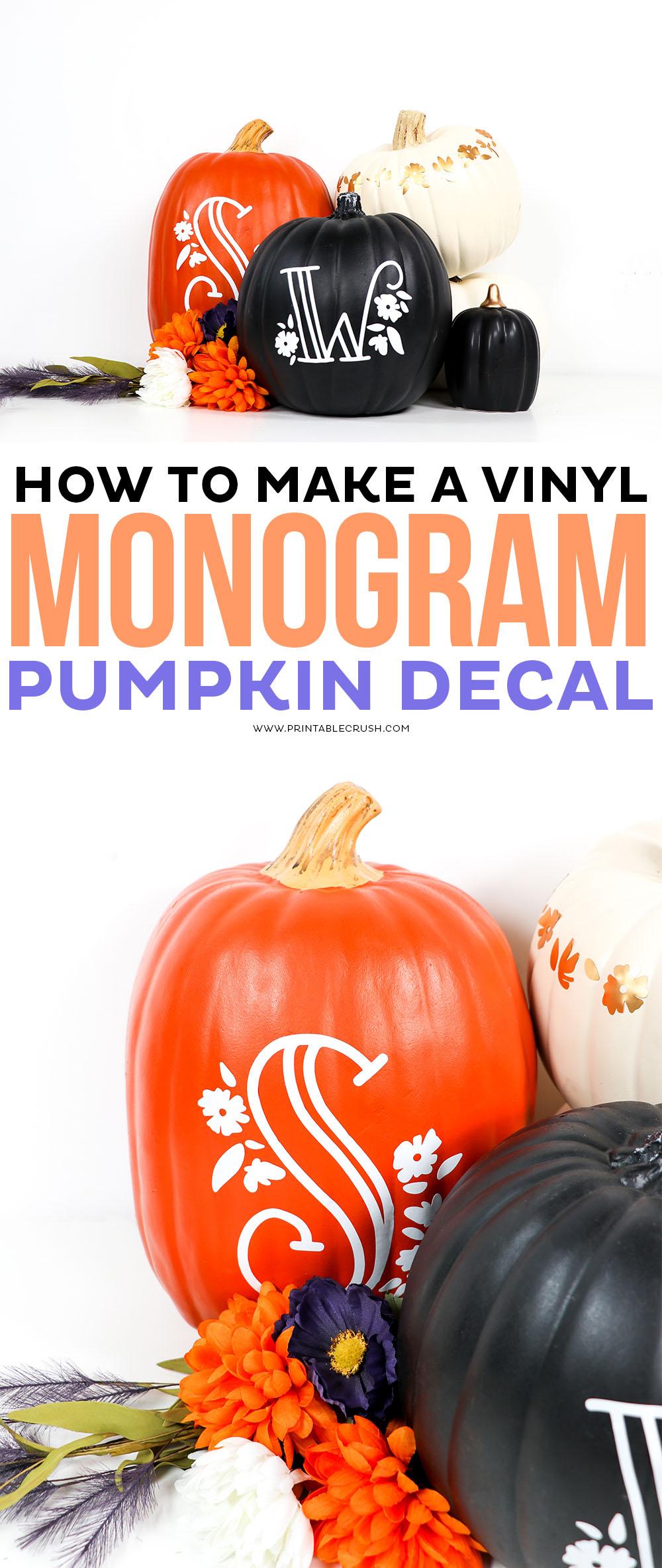 DIY Monogram Pumpkin Vinyl Decal