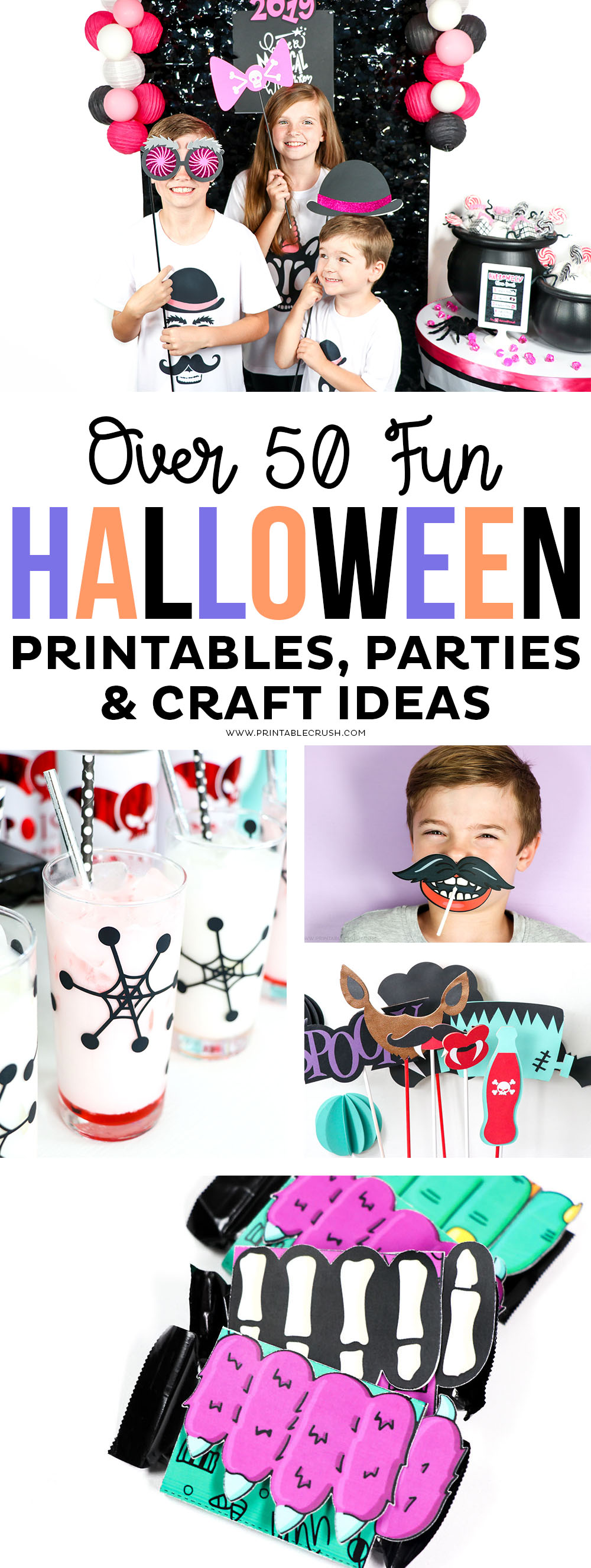 Over 50 Fun Halloween Printables, Crafts, and Party Ideas #printablecrush #halloweenprintables #halloweencrafts #halloweenideas #halloweenparties #diyhalloweencraftideas #halloweencrafts #craftsforkids #halloween via @printablecrush