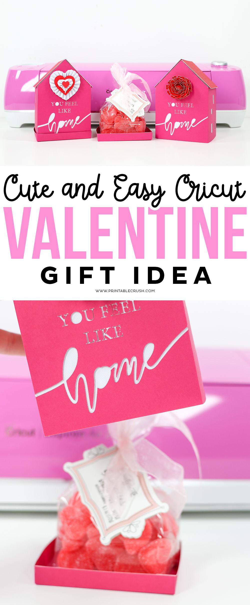 "Easy Cricut Valentine's Day Gift Idea. ""You Feel Like Home"" Valentine Gift Boxes.#cricutmade #sayitwithcricut #cricutexploreair2 #cricutcraft #cricutmachine #valentinesdaygift #valentine #valentinesdaycrafts via @printablecrush"