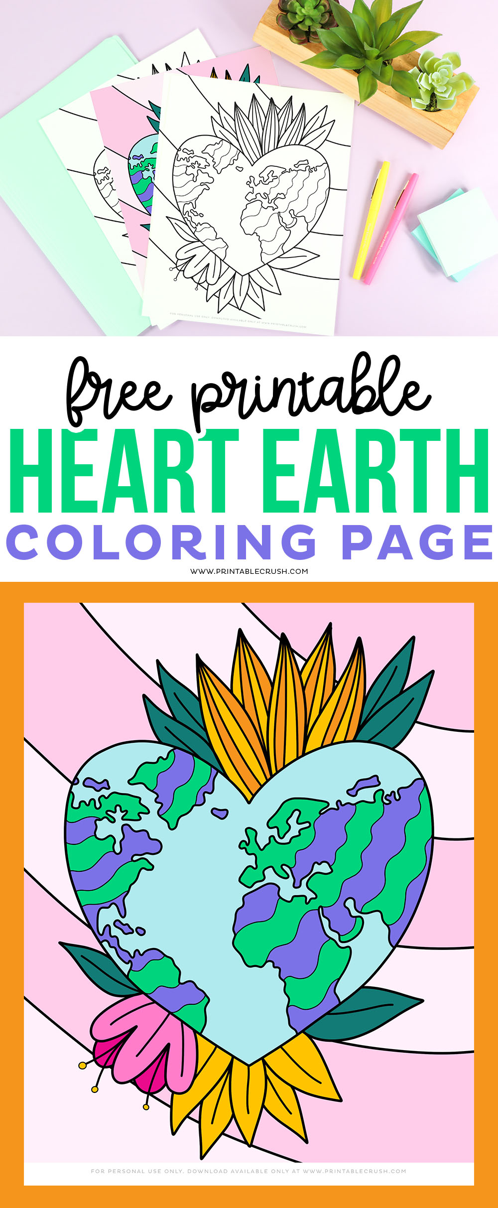 Free Earth Coloring Page - hand drawn  printable download
