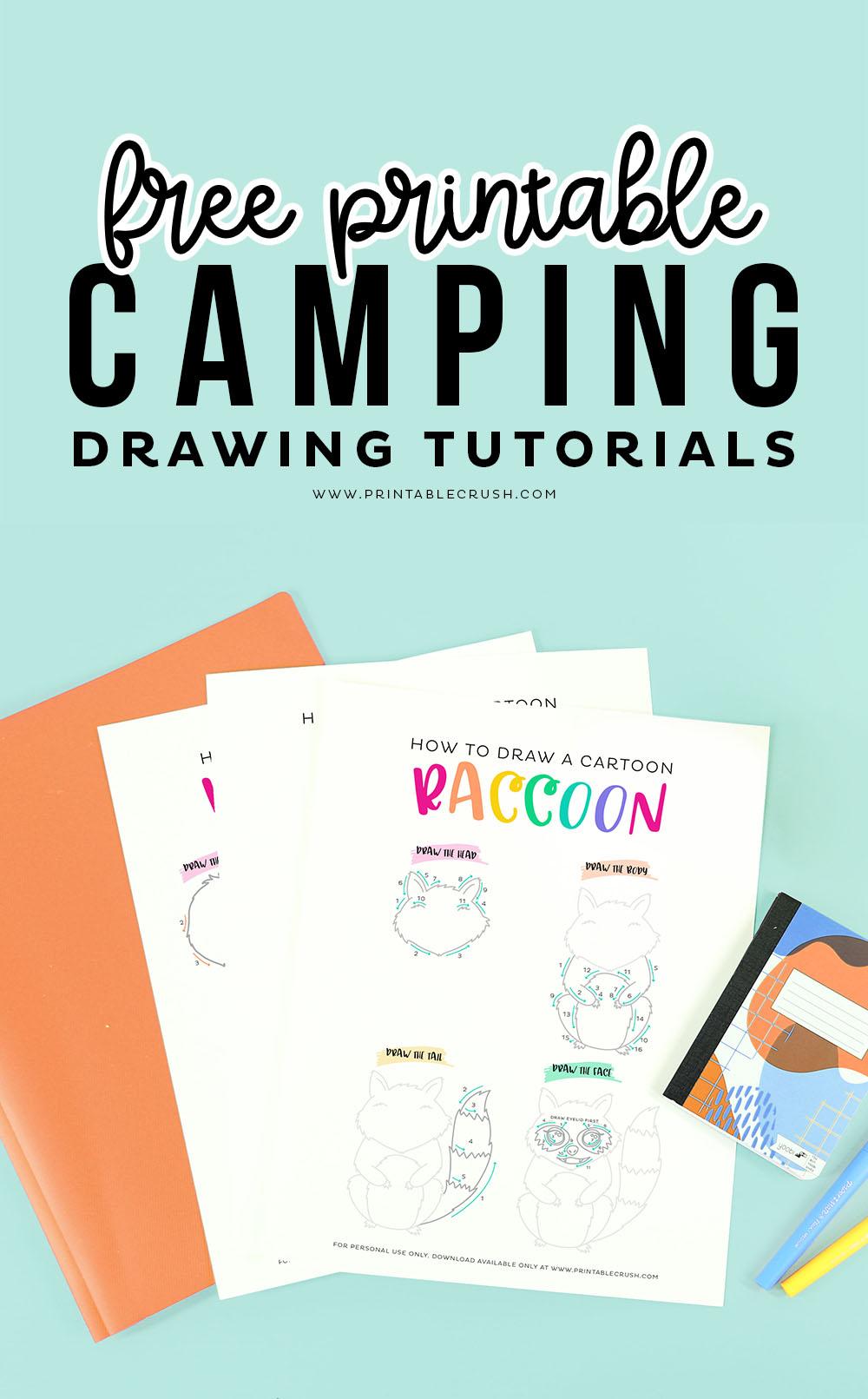 Free Camping Drawing Tutorial Printables via @printablecrush