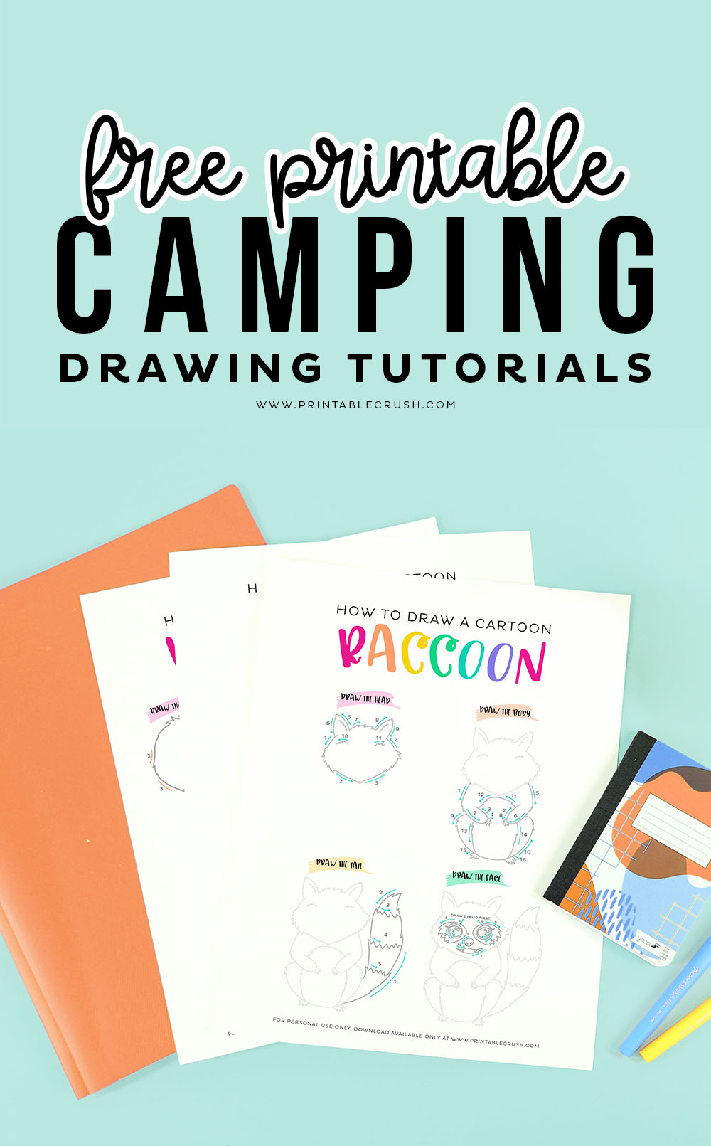 Free Camping Drawing Tutorial Printables via @printablecrush