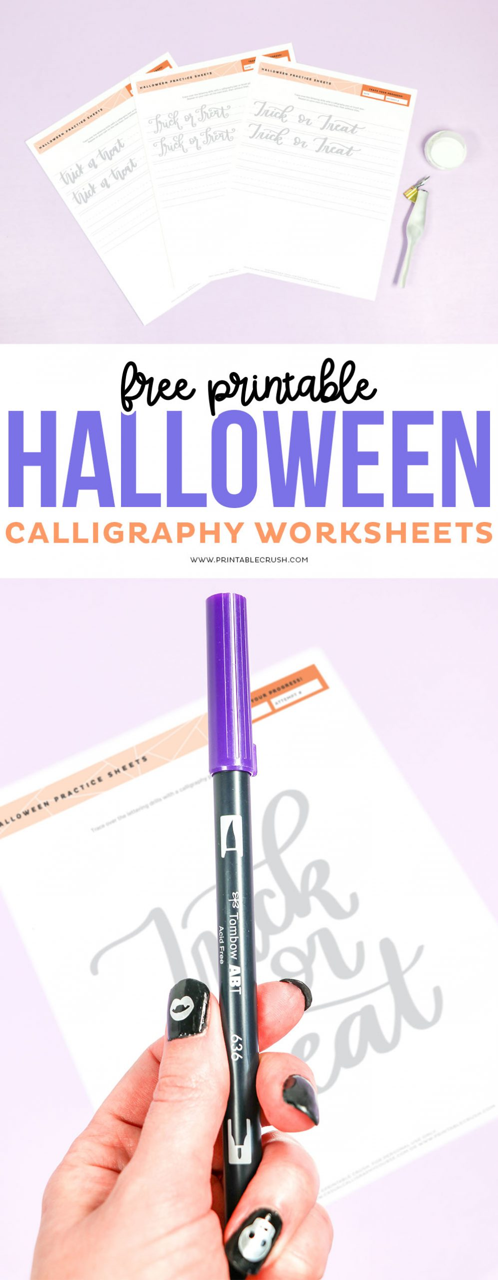 Free Halloween Calligraphy Practice Sheets - Printable Crush #calligraphy #handlettering #halloween via @printablecrush