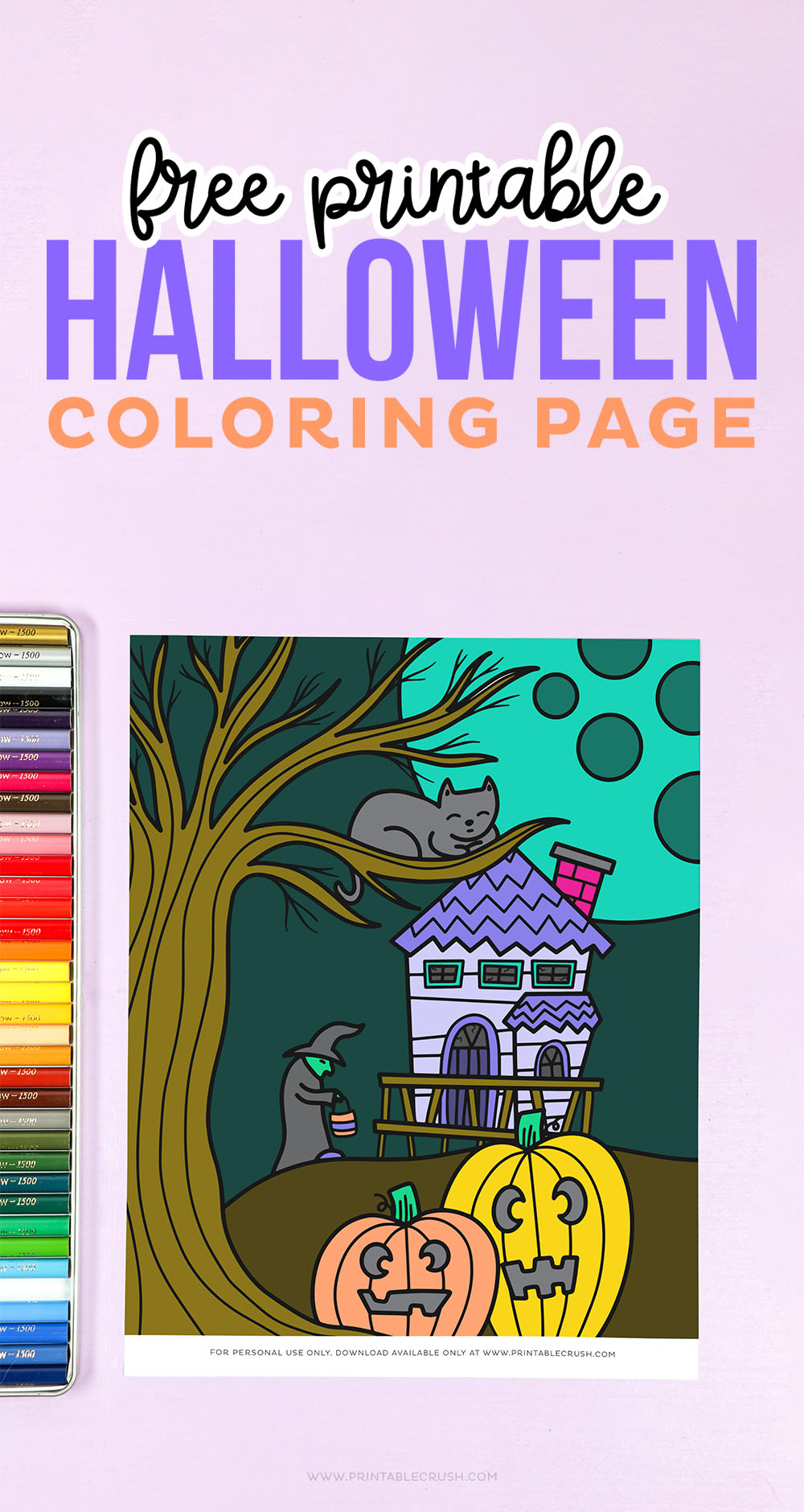 Free Halloween Coloring Page - haunted house cat witch jackolanterns