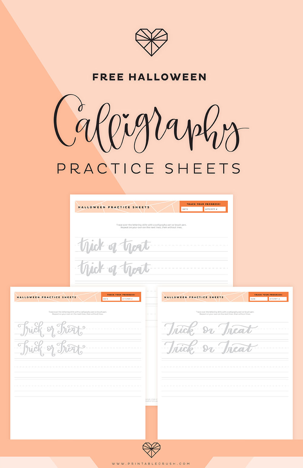 Free Halloween Calligraphy Practice Sheets - Printable Crush
