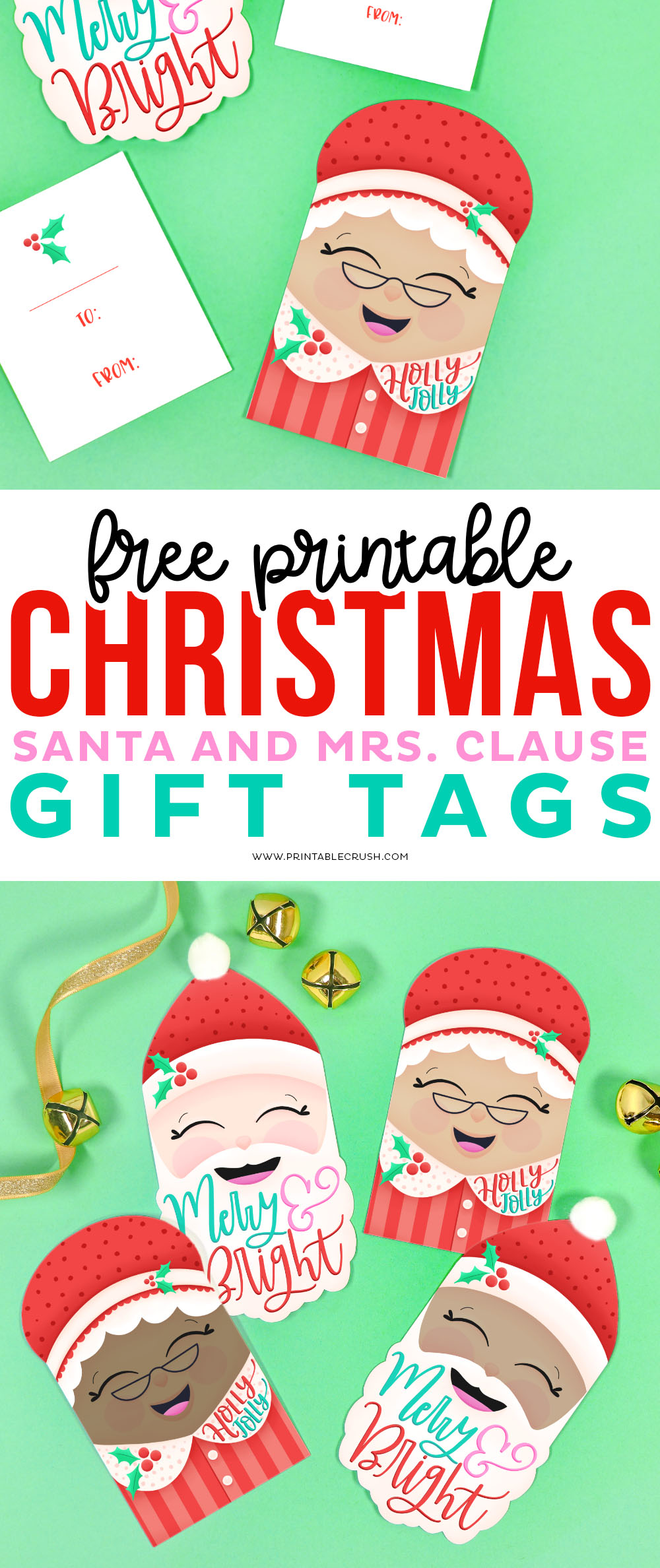 Free Santa and Mrs Claus Gift Tags - Printable Crush via @printablecrush