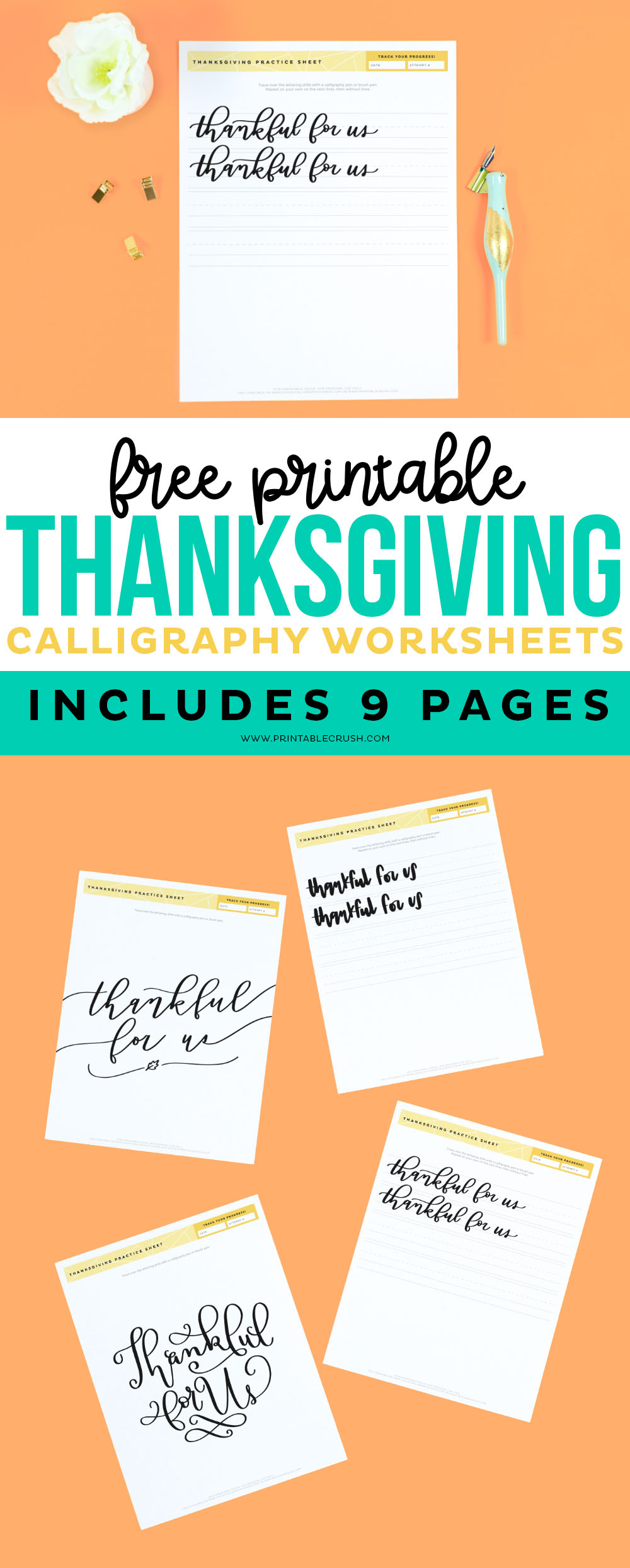Free Thankful for Use Calligraphy Worksheets - Thanksgiving Hand Lettering - Printable Crush