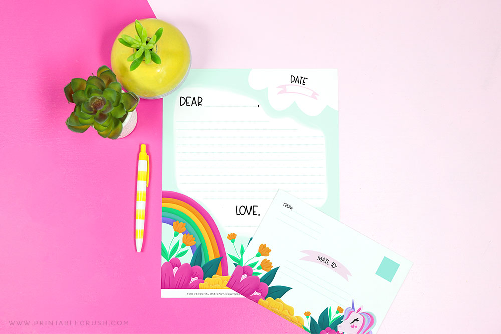 Free Unicorn Stationery Printable Set