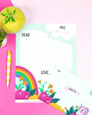 Free Unicorn Letterhead and Envelope - Printable Crush