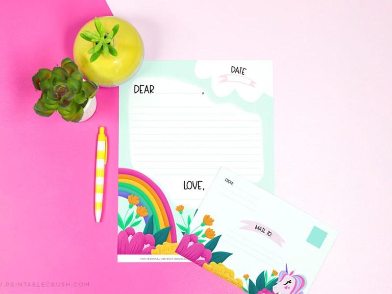 Free Unicorn Letterhead and Envelope - Printable Crush