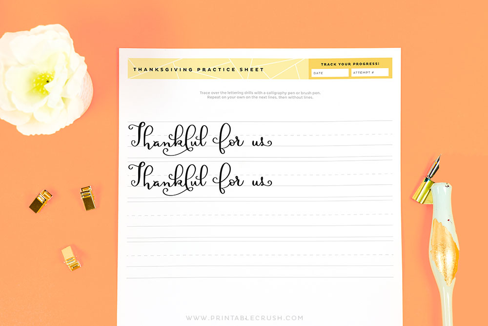 Thankful for us Calligrapy Practice Sheets - Printable Crush