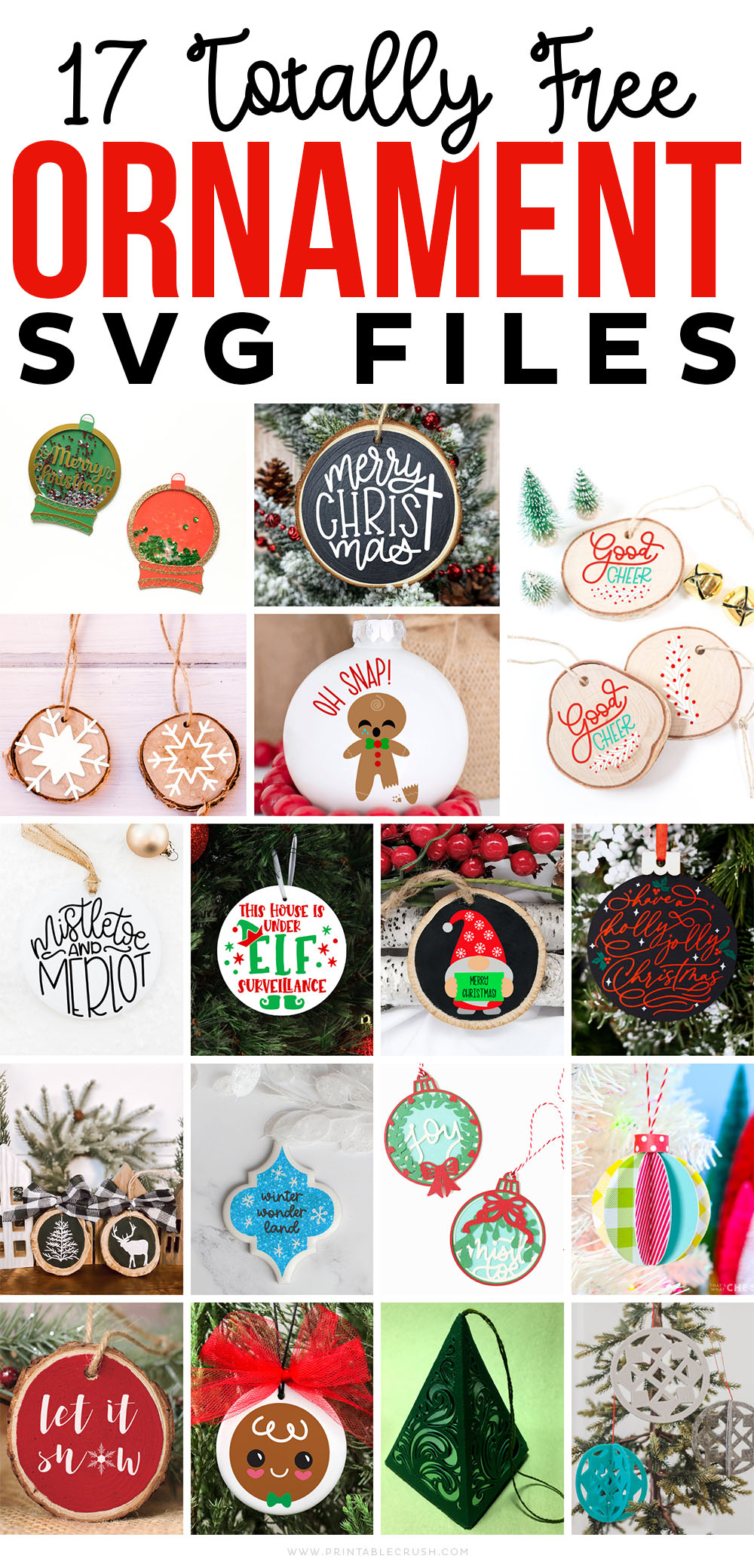 17 Totally Free Ornament SVG Files - Free Holiday Ornament SVG Files - Free Ornament Files - DIY Christmas Ornaments - Printable Crush
