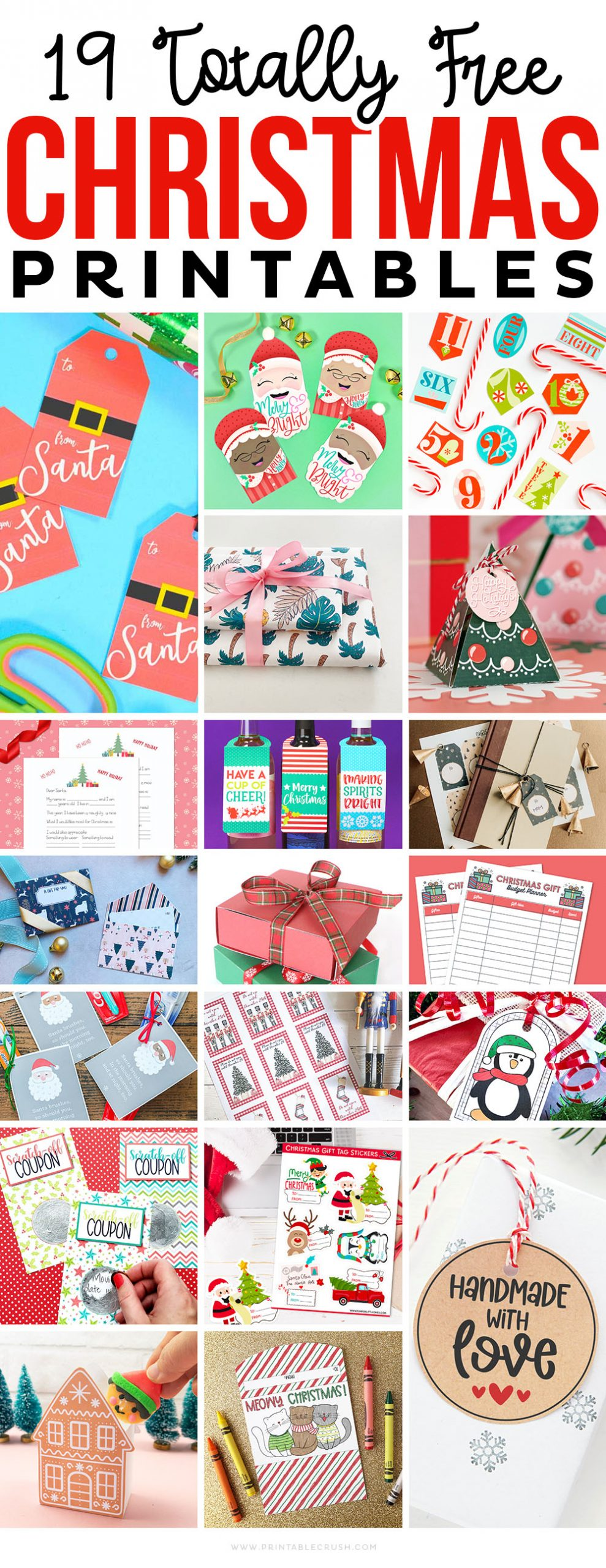 19 Free Christmas Gift Printables - Holiday Gift Printables - Free Christmas Printables - Free Holiday Printables Printable Crush
