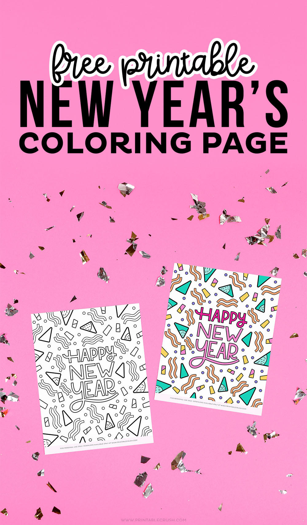 Free Coloring Page for New Year's - New Year's Coloring Page - Printable Crush