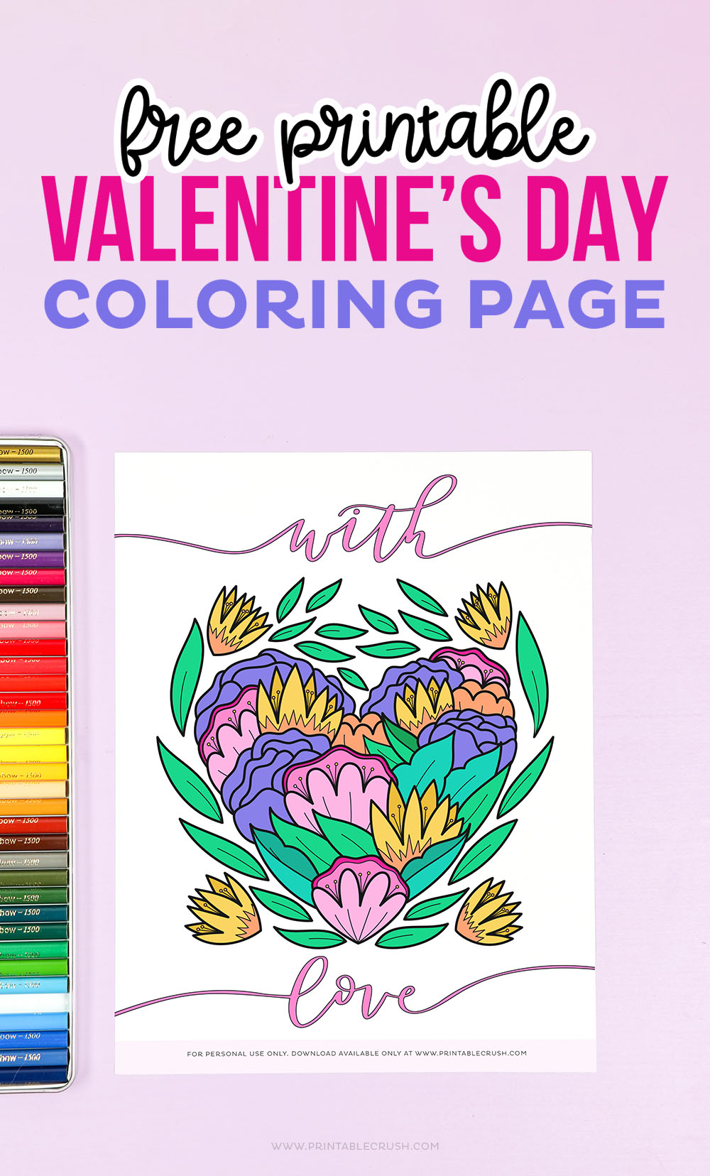 Free Coloring Page for Valentine's Day - Valentine's Day Coloring Sheet - Free Printable Coloring Page - Printable Crush