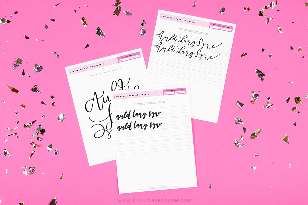Free New Year's Hand Lettering Practice Sheets - Free New Year's Calligraphy Worksheets - Printable Crush
