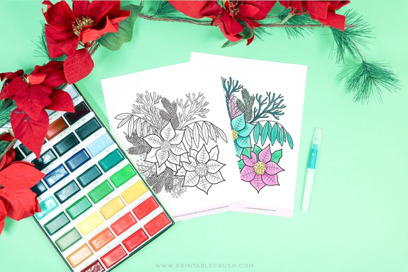 Free Winter Florals Coloring Page Printable