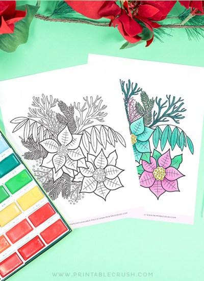 Free Poinsettia Coloring Page - Poinsettia Floral Coloring Page - Free Winter Coloring Page - Printable Crush