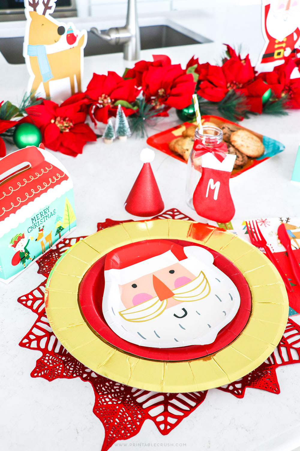 Santa Place Setting - Santa Party Decor - Santa Party Ideas - Santa Cookie Party - Christmas Cookie Party - Printable Crush
