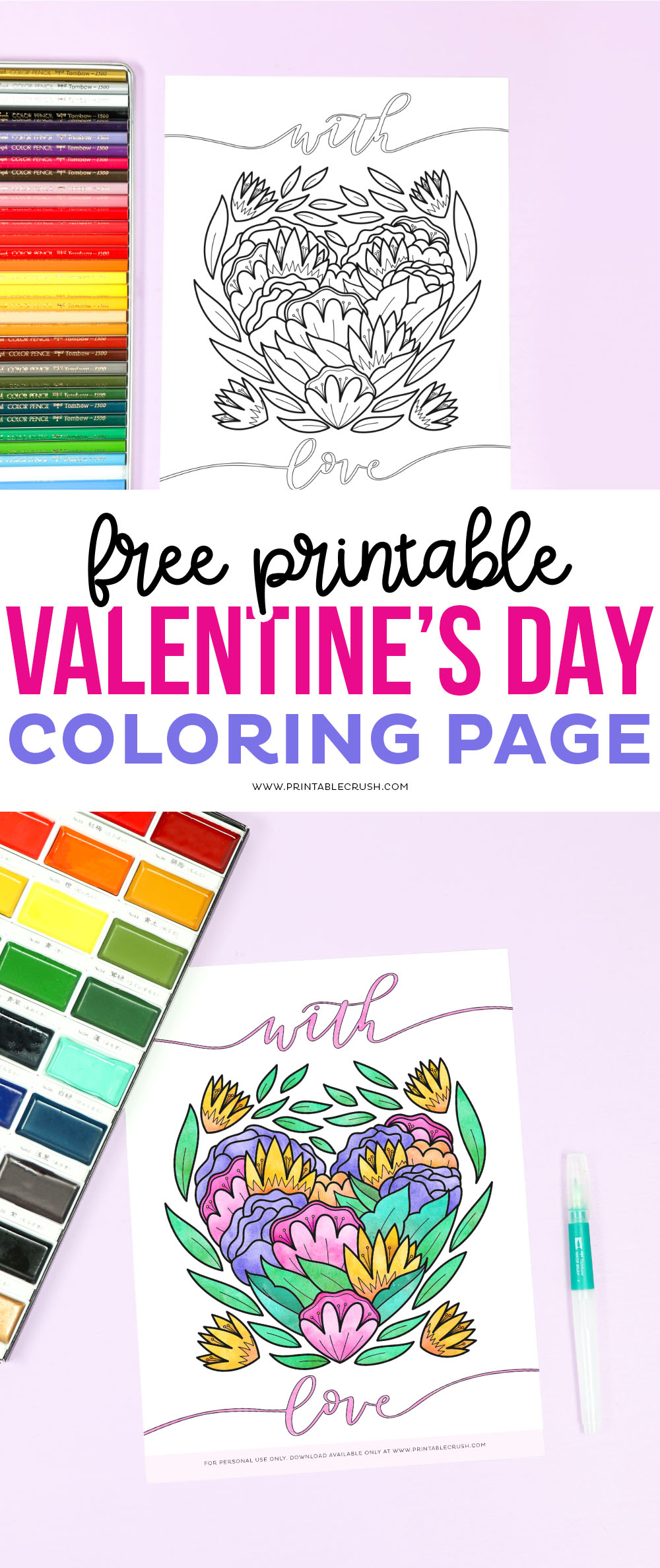 Valentine's Day Coloring Page - Free Valentine Coloring Sheet - Valentine's Day Coloring Sheet - Printable Crush