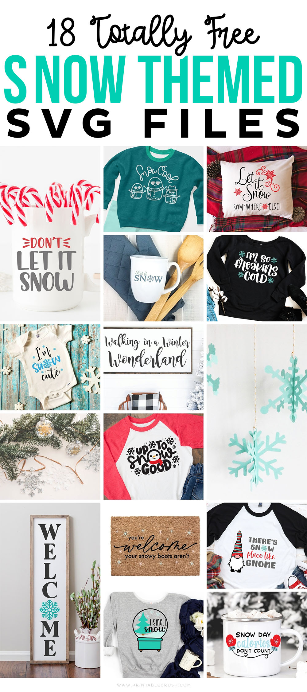 15 Free Snow SVG Files - Snowman SVG Files - Free Cut Files - Free Winter Cut Files - Printable Crush