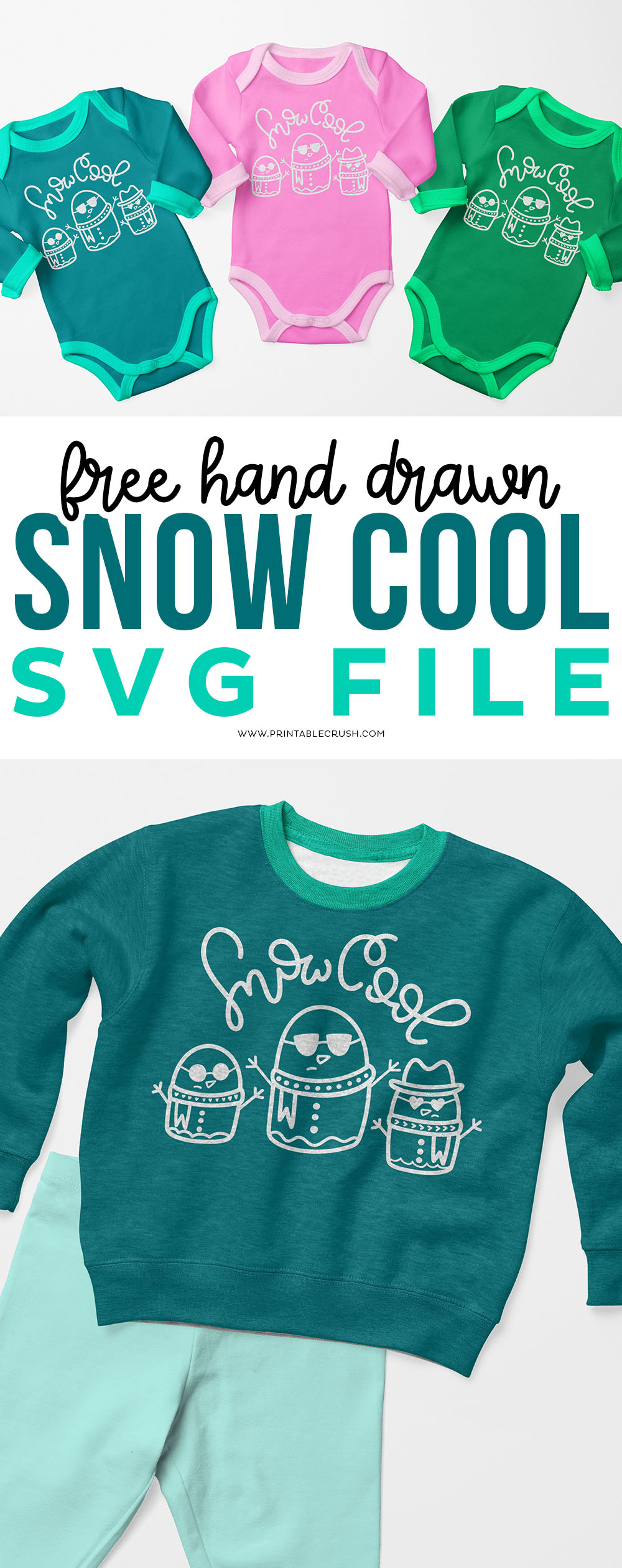Let's weather through the winter with this FREE Snowman SVG File for Cricut Projects. This Snow Cool SVG File would make the perfect t-shirt! via @printablecrush